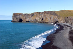 Cliff Vik in Iceland. Jagged cliff on the beach in Iceland Royalty Free Stock Image