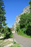 Cliff in a village in Bourgogne - France stock photo