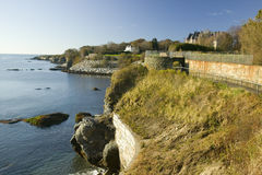 The Cliff Walk, Cliffside Mansions of Newport Rhode Island Stock Photo