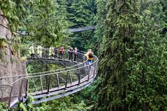 Cliff Walk Over Capilano River i Vancouver Arkivbild