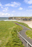 Cliff walk view of beach and cliffs in Ballybunion Royalty Free Stock Photos