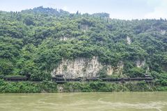 Cliff walkway. Walkway built on the side of a cliff above the Yangtze River, China Stock Photography