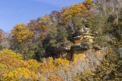 Cliff In Woods In Autumn Royalty Free Stock Images