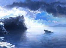 Cliff and wrecked ship Stock Photos