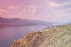 Cliff on the Yenisei River, Krasnoyarsk. Russia - nature and travel background royalty free stock photography