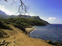 Clifflandscape por el mar fotografía de archivo