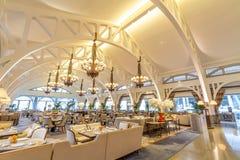 Clifford Pier Restaurant im Fullerton-Buchthotel Stockbilder