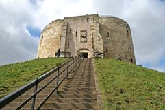 Clifford's Tower. At York, England stock photography