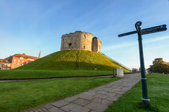 Clifford Tower York. Cliffords tower in York city is part of York castle and most visited landmark. York, England Stock Photo