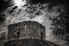 Cliffords Tower in York in England the UK. At dusk Stock Photo
