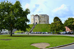 Cliffords Tower. In York - north east  England, one of the famous tourist attractions.  It is the largest remaining part of York Castle Stock Image