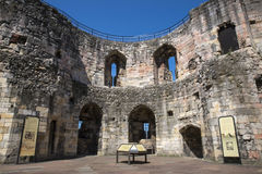 Cliffords Tower in York. YORK, UK - JULY 18TH 2017: The view inside the Cliffords tower - the keep of York Castle, in the historic city of York in England, on Royalty Free Stock Photos