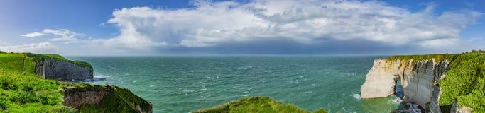 Cliffs of Étretat in Normandy stock images