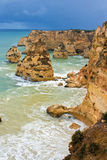 Cliffs. A view from the cliff tops in the Algarve Portugal Royalty Free Stock Images