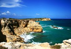 Cliffs. At Cabo Rojo, Puerto Rico Royalty Free Stock Photos