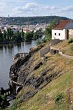 Cliffs above the Vltava River in Prague Royalty Free Stock Image
