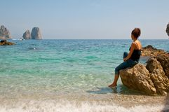 The cliffs of the Amalfi Coast Capri royalty free stock images