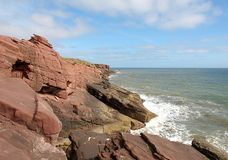 Cliffs at Arbroaht. Coastal cliffs at Arbroath, Scotland on the North Sea Stock Images