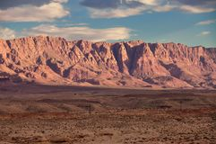 Cliffs in the Arizona desert at sunset. Illuminated by last light. USA Royalty Free Stock Images