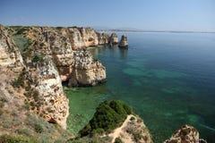 Cliffs at Atlantic Coast in Portugal Royalty Free Stock Photos