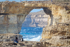 On the cliffs of Azur Window, Gozo, Malta.  Stock Photo