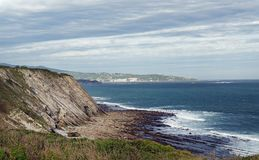 Cliffs of the Basque Cornice. Cornice of the Basque coast royalty free stock images