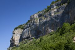 Cliffs of Baume-les-messieurs, Jura. Franche-Comte, France royalty free stock photo