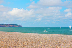 Cliffs and beach in Dieppe stock photography