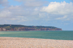 Cliffs and beach in Dieppe Stock Images