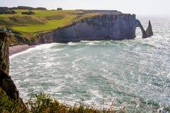 cliffs and beach of Etretat Stock Image