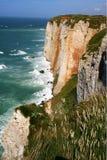 Cliffs and beach of Etretat Stock Photos
