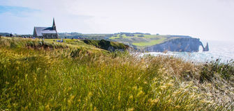 Cliffs and beach of Etretat Stock Photography