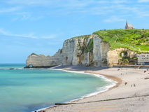 Cliffs and beach of Etretat, Normandy, France Royalty Free Stock Photography