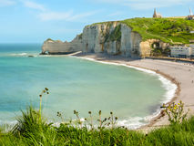 Cliffs and beach of Etretat, Normandy, France Stock Photography