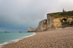 Cliffs and beach of Etretat Royalty Free Stock Images