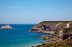 Cliffs and Beaches at Frehel Stock Photos