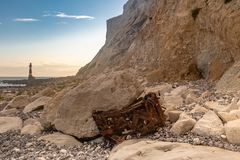 The Cliffs at Beachy Head with a Rusty Car at the Bottom stock photos