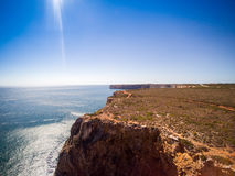 Cliffs of Beliche Beach, Saint Vincent Cape, Portugal Royalty Free Stock Photos