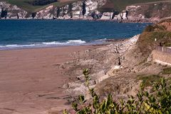 Cliffs at Bigbury, Devon, UK Stock Photos