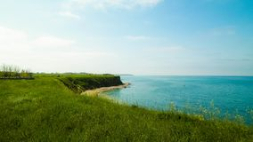Cliffs on the Black Sea coast, Romania. Cliffs on the Black Sea coas. Landscape of cliffs and beach in Vama Veche, Romania. Nature and traveling concept royalty free stock images