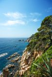 Cliffs of Blanes from the Mar i Murtra Botanical Garden stock images