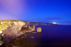 Cliffs of Bonifacio at night, Corsica, France Royalty Free Stock Photos