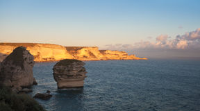 Cliffs of Bonifacio in warm light before sunset, Corsica, France Royalty Free Stock Image