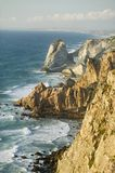 Cliffs of Cabo da Roca on the Atlantic Ocean in Sintra, Portugal, the westernmost point on the continent of Europe, which the poet Royalty Free Stock Photos