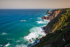 The cliffs of Cabo da Roca, Portugal. The westernmost point of E Royalty Free Stock Photos