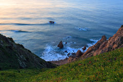 Cliffs Cabo da Roca at sunset Royalty Free Stock Photo
