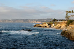 Cliffs on the California coast. Line in La Jolla San Diego Stock Images