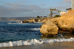 Cliffs on the California coast. Line in La Jolla San Diego Royalty Free Stock Image