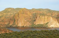 Cliffs of Canyon Lake. Canyon Lake from Apache Trail, Arizona stock image