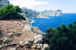 Cliffs at Cap Formentor in Majorca, Spain, Europe, a popular holiday destination. Steep cliffs at Cap Formentor in Majorca, Spain, Europe, a popular holiday Royalty Free Stock Photography